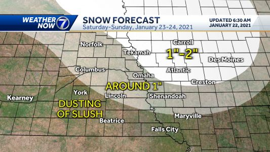 IMPACT WEATHER: Light snow this weekend, more likely Monday