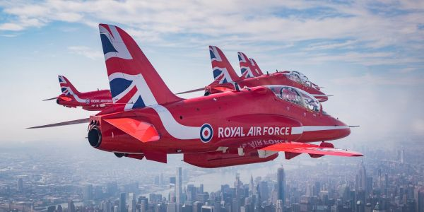 10 stunning images of the UK's Royal Air Force Red Arrows zooming past New York landmarks with US Thunderbirds and F-35s