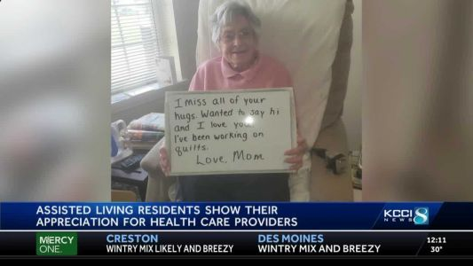 Assisted living residents show their appreciation for health care workers