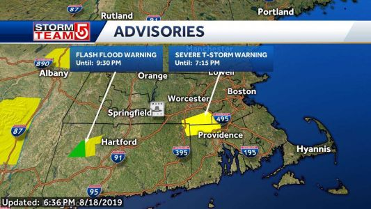 Severe thunderstorm warning issued in Massachusetts