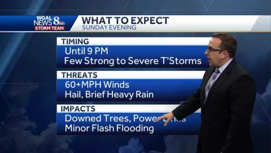 Few Strong to Severe T'Storms This Evening; Another Hot Day Monday