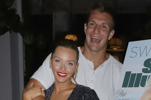 Gronk and Camille Kostek 'obsessed with each other' at Miami bash