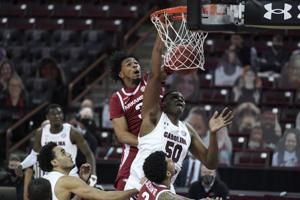 Moody leads No. 12 Arkansas past South Carolina 101-73