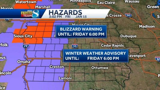 Weather outlook: Blizzard replaced with winter weather advisory