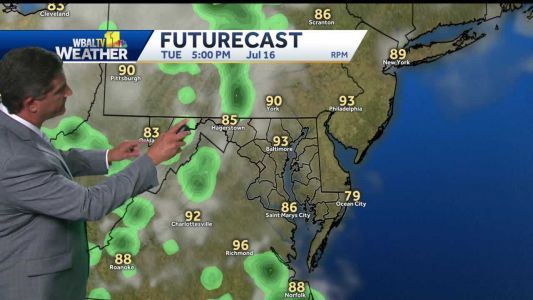Humidity, chance for t'storm return Tuesday