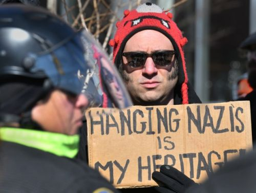 Blue Lives Matter activists, counterprotesters trade insults outside Boston Police headquarters