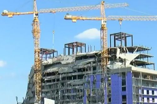 Cranes demolished at partially collapsed Hard Rock Hotel in New Orleans