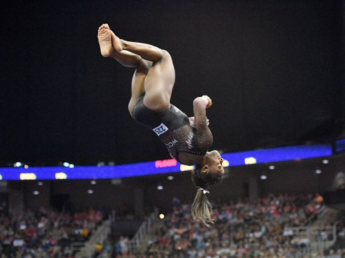 Simone Biles won her 6th all-around gymnastics title with a gravity-defying move most gymnasts can't pull off, and her celebrity fans are ecstatic