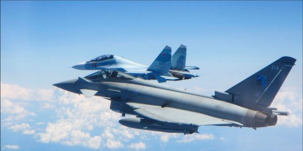 British fighters intercepted Russian jets twice this weekend, as NATO conducts war games in the Baltics