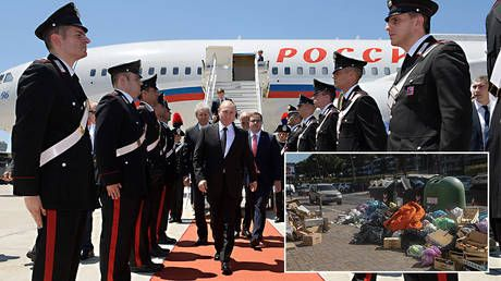 Putin visits Rome for one day. and is already credited with solving city's trash problem