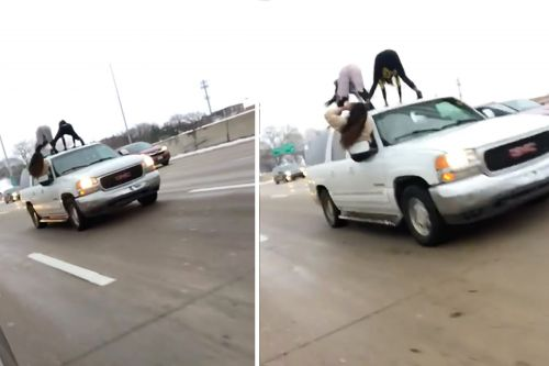 Two women caught twerking atop SUV on crowded interstate