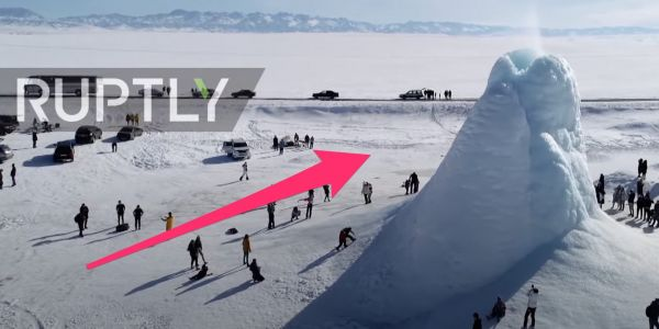 A 45 ft 'ice volcano' emerged in Kazakhstan, formed from spring water spraying from the ground that freezes almost instantly
