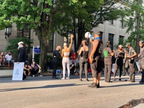 Protesters gather in Lancaster early Sunday