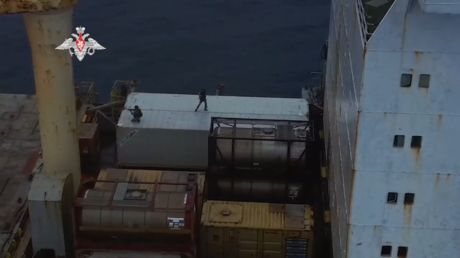 WATCH: Russian anti-terror unit launches dramatic raid on container ship after vessel boarded by armed pirates off coast of Africa