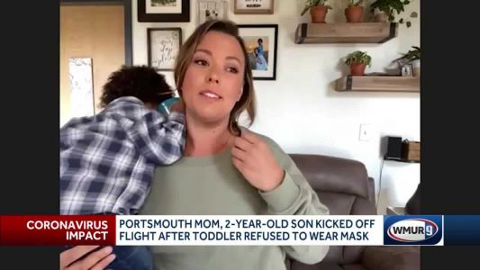 Woman says she was kicked off flight after her 2-year-old son refused to wear a mask