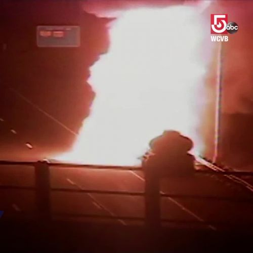 Watch: Gas tanker fireball after explosion on New England highway
