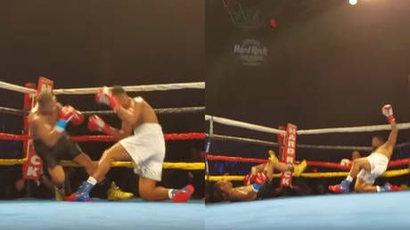 'Double KO!' Boxers simultaneously exchange punches, hit canvas at the same time