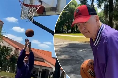 Grandpa shows off his college basketball skills