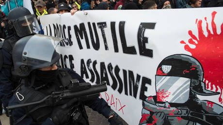 WATCH French riot police knock down elderly woman. during rally for 80yo who died after getting hit by tear gas grenade