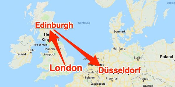 A British Airways flight from London to Germany took off in the wrong direction and landed in Scotland, 525 miles away from its destination