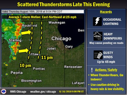 Line of thunderstorms approaching from the west this Thursday evening