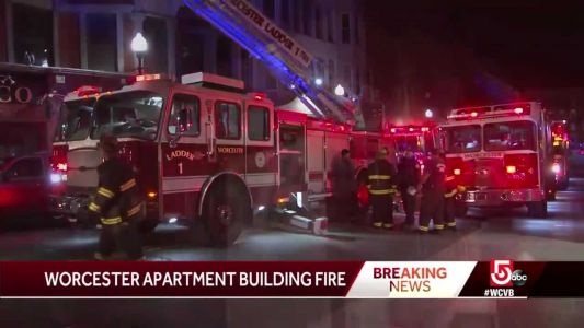 Worcester firefighters battle apartment building fire