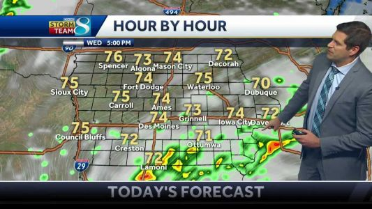 Showers and fog early, storm chances late