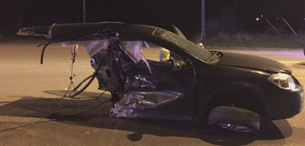 Teen walks away from crash that split his car in two pieces