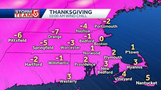 Near record cold arrives for Thanksgiving