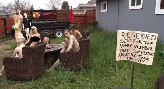 Man sets up naked mannequin party in his yard to taunt 'nosey' neighbor