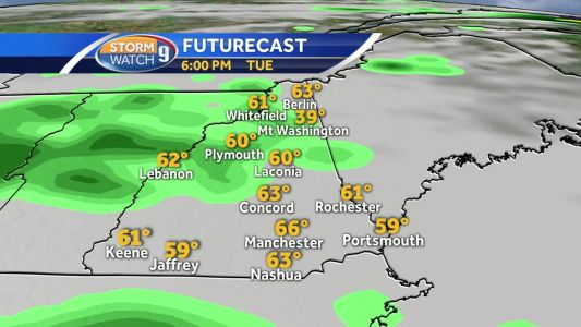 Scattered showers, cooler air mass for Tuesday