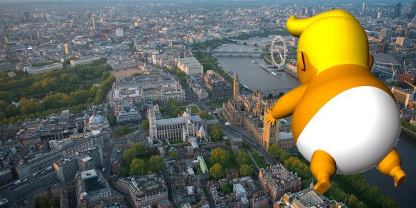 Trump says the 20-foot-tall angry baby blimp flying in London makes him feel 'unwelcome'