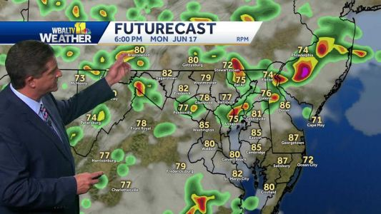 Chance for thunderstorms increase Monday