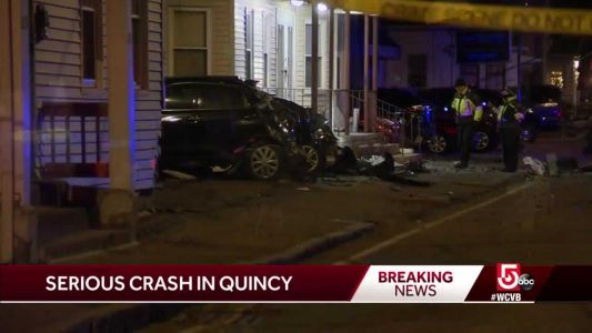 Vehicle strikes parked cars in Quincy