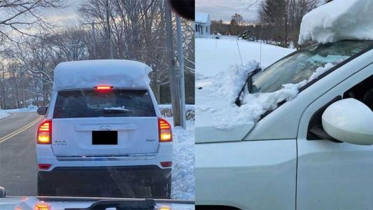 Rye police say they issued $310 summons to driver with snow on car's roof