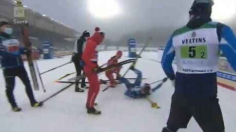 'He went crazy': Russian team disqualified after skier clashes with Finnish rival before PLOWING INTO him at finish line