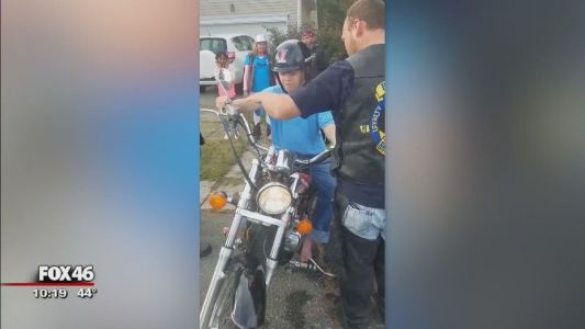 Bikers band together to give teen with Down syndrome, autism a birthday surprise