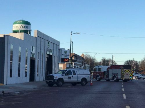 First responders evacuate downtown Schuyler after work crews hit gas line