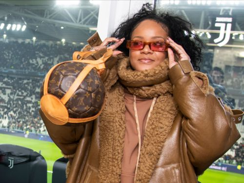 Rihanna wore a Louis Vuitton soccer ball-shaped purse to a football match