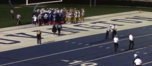 Heartwarming video captures opposing teams celebrating together over player's first touchdown
