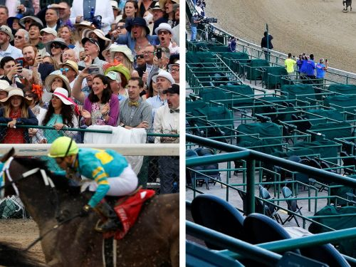 Photos show a surreal scene at the Kentucky Derby during the pandemic, with almost no fans in the stadium and protests demanding justice for Breonna Taylor