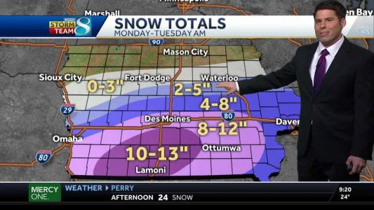 Storm to move in Monday afternoon