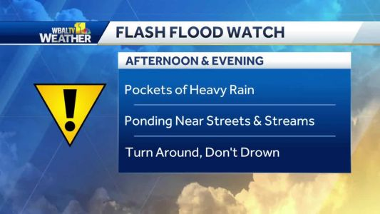 Flash flood watch issued Monday; storms could be severe