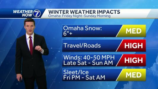 Light freezing rain continues overnight, blizzard conditions arrive Saturday afternoon