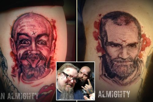 Couple gets Charles Manson tattoos using murderer's ashes