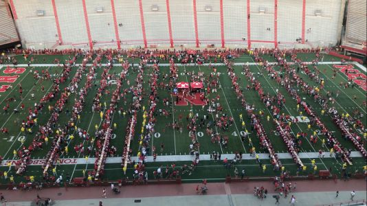 Husker Fans fill Memorial Stadium for Frost's first fan day as head coach