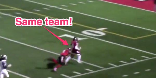A high school football player made an incredible saving tackle on a teammate who was running the wrong way and about to score for the other team