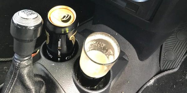 Police arrested a man in the UK for driving with a pint of Guinness in his car cup holder