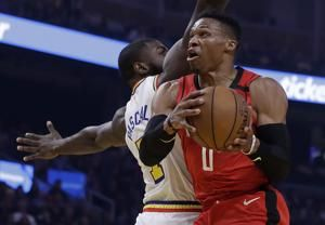 James Harden, Rockets roll to 135-105 rout of young Warriors