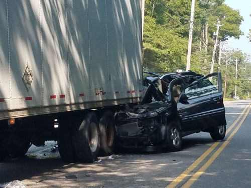 Driver airlifted to hospital after rear-ending tractor-trailer